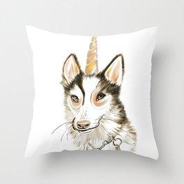 Magical Husky Unicorn Dog on White Background Throw Pillow