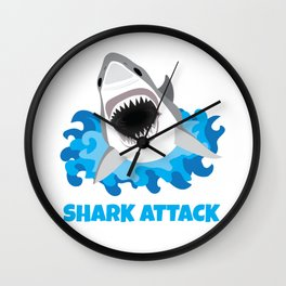 Great White Shark Attack Wall Clock