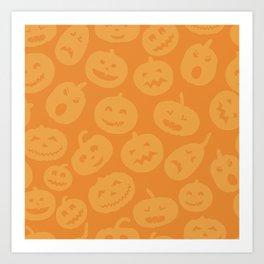 Orange Jack-O-Lanterns Art Print