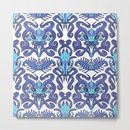 Monster Damask (blue) Metal Print