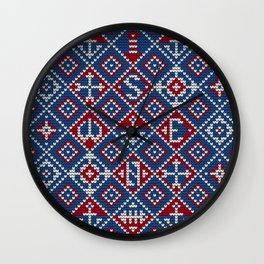 Grandma's knitting pattern for Saylor's Ugly sweater #3 Wall Clock