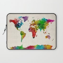 Watercolor Map of the World Map Laptop Sleeve
