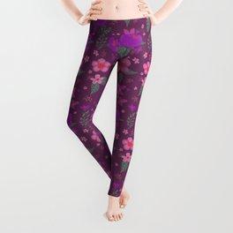 Flower blossom purple pink pattern Leggings
