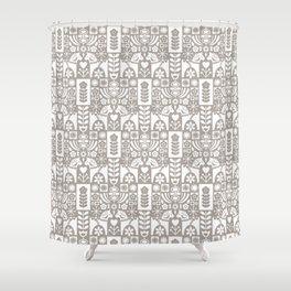 Swedish Folk Art - Warm Gray Shower Curtain