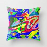 graffiti Throw Pillows featuring Graffiti by DesignsByMarly