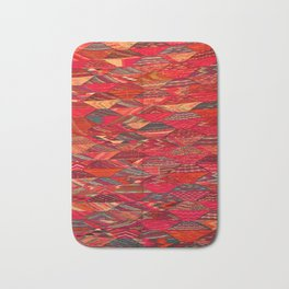 V35 Red Traditional Moroccan Artwork Pattern Bath Mat