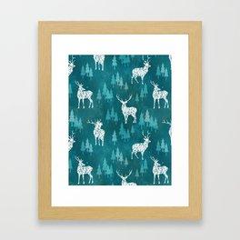 Ice Forest Deer Turquoise Framed Art Print