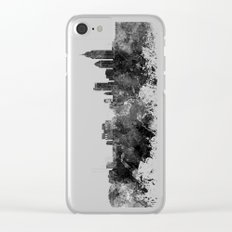 Mobile skyline in black watercolor Clear iPhone Case