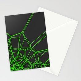 Green voronoi lattice on black background Stationery Cards