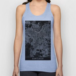 Santiago Black Map Unisex Tank Top