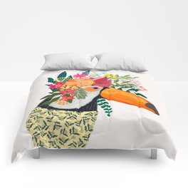 Toucan with flowers on head Comforters