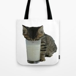 Cute Wild Kitten With A Glass Full of Optimism Tote Bag