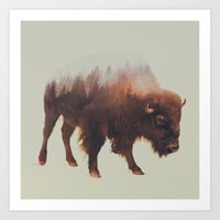 bison Art Prints featuring Bison by Andreas Lie