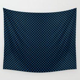 Black and Snorkel Blue Polka Dots Wall Tapestry