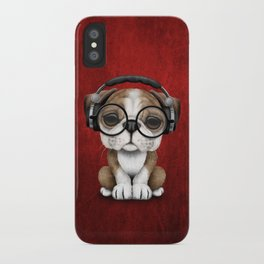 English Bulldog Puppy Dj Wearing Headphones and Glasses on Red iPhone Case