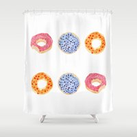 doughnut Shower Curtains featuring doughnut selection by cardboardcities