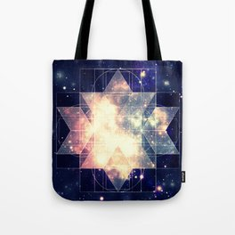 Galaxy Sacred Geometry: Golden Rhombic Hexecontahedron Tote Bag