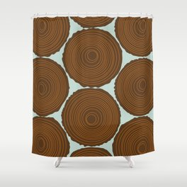 Whimsical Wood Stack Shower Curtain