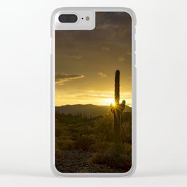 A Golden Saguaro Sunrise Clear iPhone Case