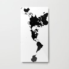 Dymaxion World Map (Fuller Projection Map) - Minimalist Black on White Metal Print