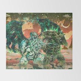 Cthulhu vs Godzilla Throw Blanket