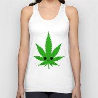 weed Tank Tops featuring kawaii weed by kidkb09