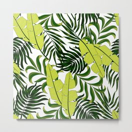 Abstract seamless tropical pattern with bright plants and leaves on a delicate background. Beautiful print with hand drawn exotic plants. Tropic leaves in bright colors. Metal Print