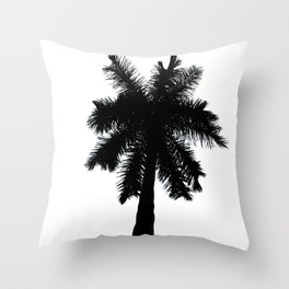 Palm Tree Silhouette on Pure White Nature / Botanical Photo #tropical #decor #art #society6 Throw Pillow