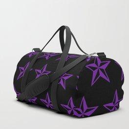 Purple Tattoo Style Star on Black Duffle Bag