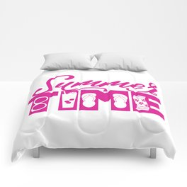 Summer TIME at the Pool Pink Comforters