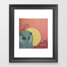 Owl & A Full Moon Framed Art Print