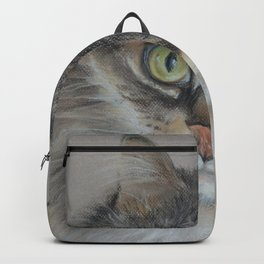 Tabby cat Maine Coon portrait Pastel drawing on the grey background Backpack