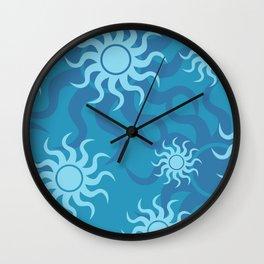 Circle Sun Pattern turquoise I Wall Clock