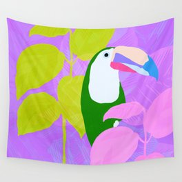 tropical toucan, purple Wall Tapestry