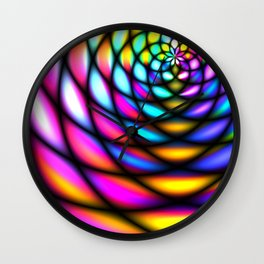 Panels of bright neon glass abstract tunnel concept Wall Clock