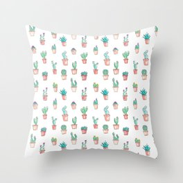 Cactus Succulent Garden Throw Pillow
