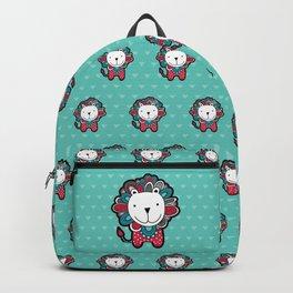Doodle Lion on Aqua Triangle Background Backpack