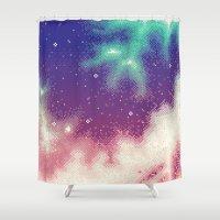 8bit Shower Curtains featuring Rainbow Nebula (8bit) by Sarajea
