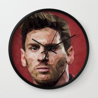 messi Wall Clocks featuring Barcelona's Leo Messi by Trimm Illustrations