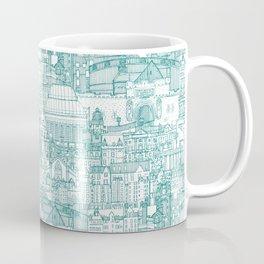 Edinburgh toile teal white Coffee Mug