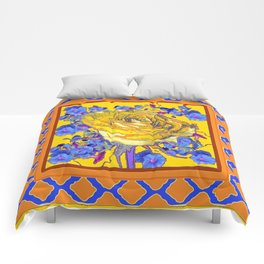 CORAL & BLUE LATTICE & YELLOW ROSE BLUE MORNING GLORY FLOWERS Comforters