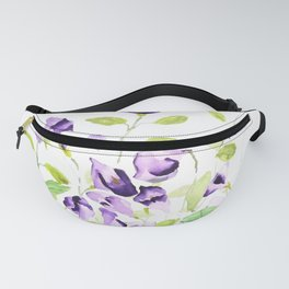 purple wishbone flowers watercolor painting Fanny Pack
