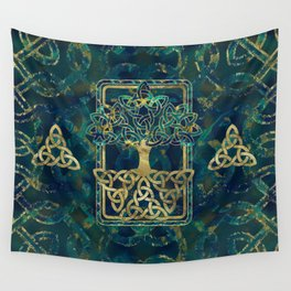 Tree of life - Yggdrasil with Triquetra  symbols Wall Tapestry