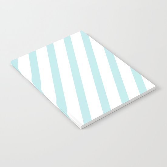 Diagonal stripes - turquoise fresh summer pattern Notebook