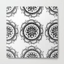 Black and White Floral Rose Mandala Textile Metal Print