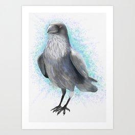 Raven Watercolor Artwork, Turquoise Background Art Print