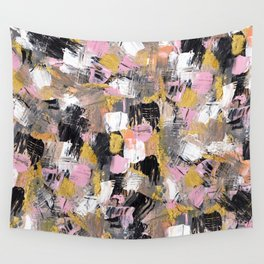 Modern acrylic brushstrokes pink salmon gold black white hand painted Wall Tapestry