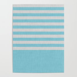 Sky blue and gray color block and stripes Poster