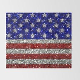 Glitter Sparkle American Flag Pattern Throw Blanket