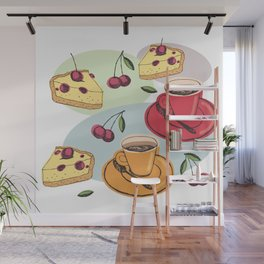 Cherry Pie And A Hot Cup Of Coffee Wall Mural
